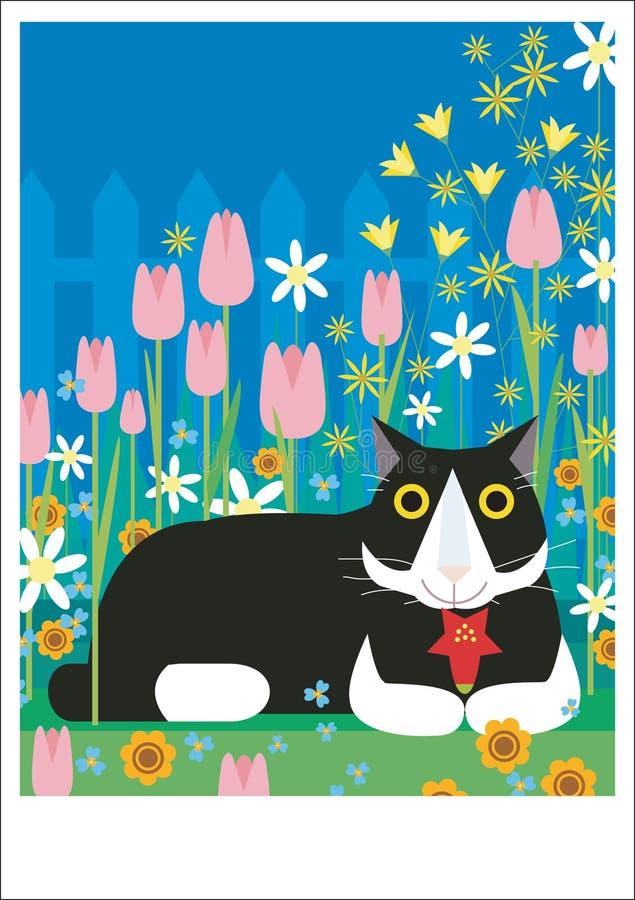 Gato blanco y negro en jardín libre illustration