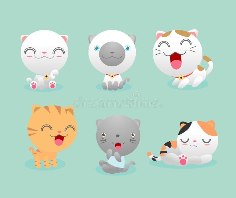 Gato bonito ajustado, grupo de vaquinhas bonitos dos desenhos animados, grupo de gatinho bonito, desenhos animados da ilustração  ilustração stock