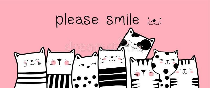 Gato bonito com estilo tirado do fundo mão cor-de-rosa para imprimir, bandeira do bebê, camisa de t ilustração royalty free