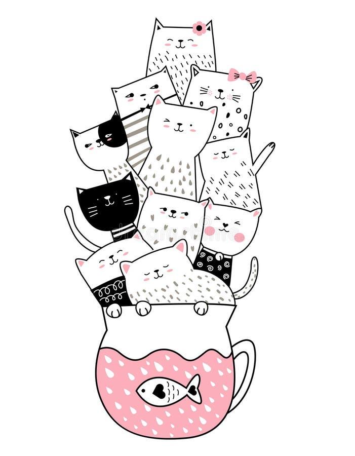 Gato bonito com estilo tirado mão do copo para imprimir, bandeira do bebê, camisa de t ilustração do vetor