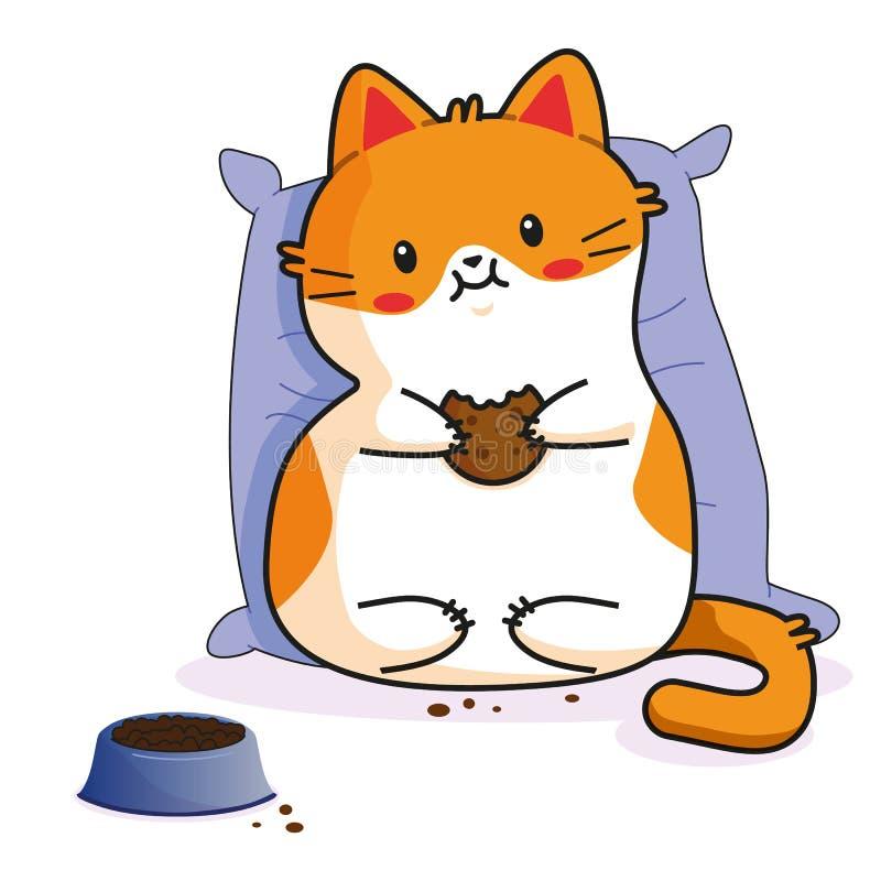 Gato bonito: comer guardando a cookie vaquinha, caráteres no vetor, ilustrações do gatinho dos desenhos animados Como a etiqueta, ilustração royalty free