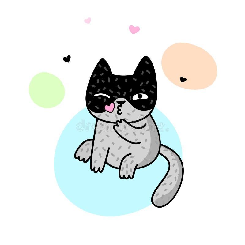 Gato bonito da mola Vector a ilustração para um cartão, o cartaz, a cópia para a roupa ou os acessórios ilustração royalty free