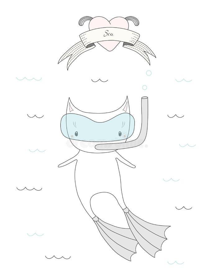 Gato bonito do mergulho ilustração royalty free