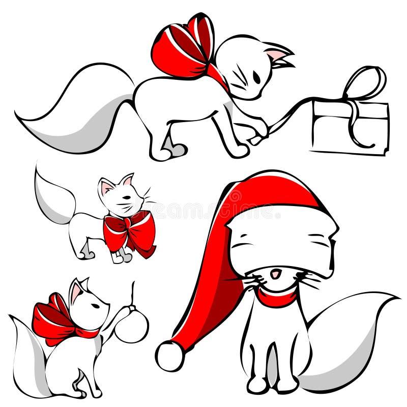 Gato bonito do Natal ilustração stock