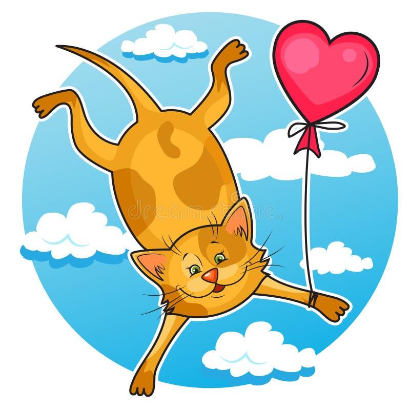 Gato bonito do Valentim ilustração royalty free