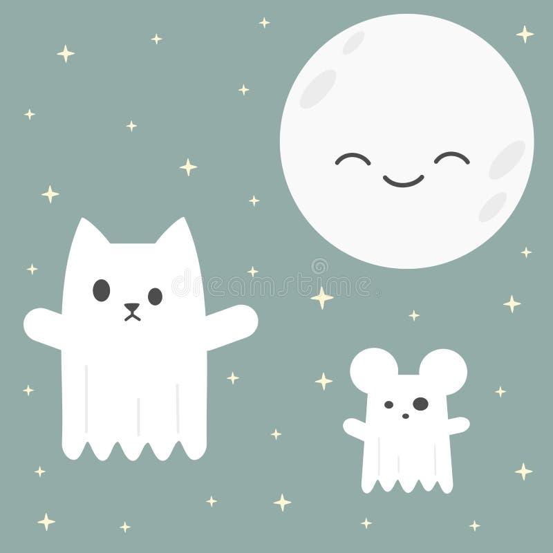 Gato bonito do vetor dos desenhos animados e fantasma do rato na noite ilustração royalty free