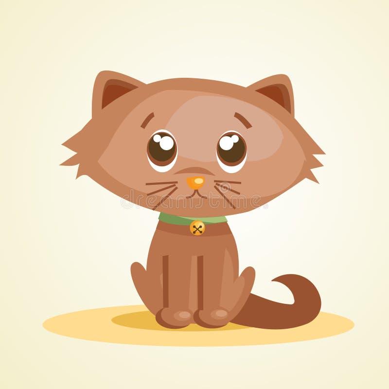 Gato bonito dos desenhos animados ilustração royalty free