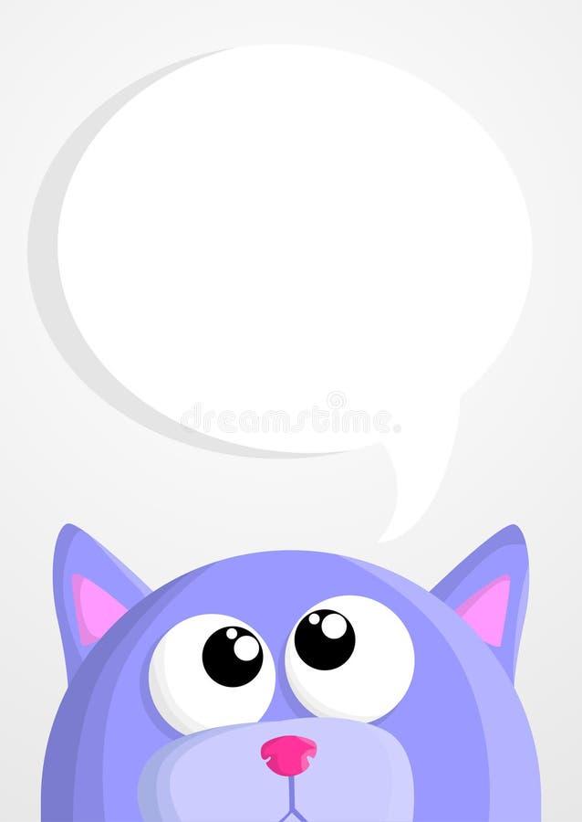 Gato bonito dos desenhos animados com bolha do discurso ilustração do vetor