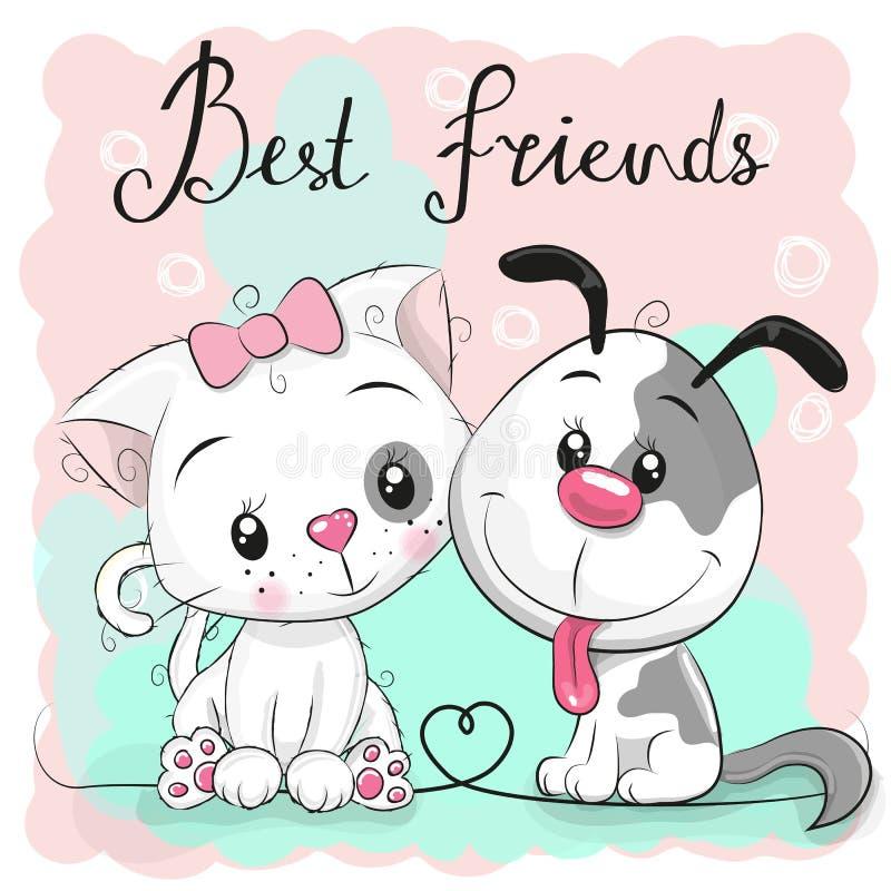 Gato bonito e cão em um fundo cor-de-rosa ilustração stock