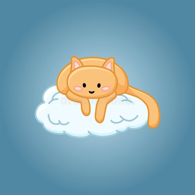 Gato bonito em uma imagem dos desenhos animados da nuvem ilustração do vetor