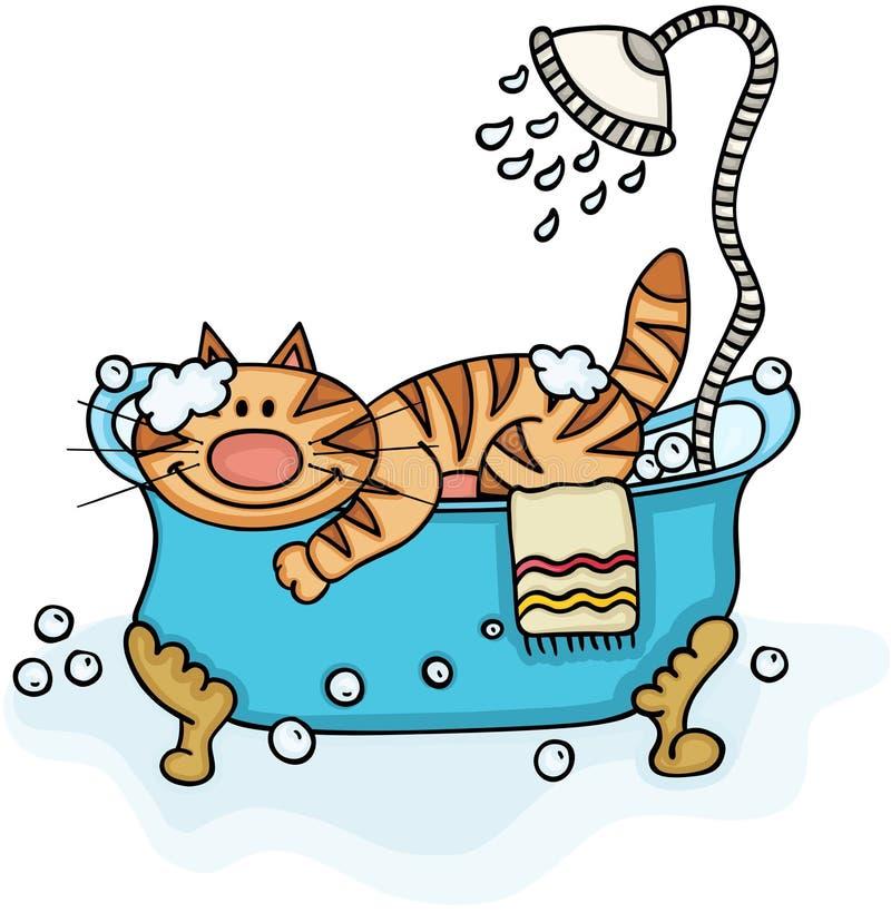 Gato bonito na banheira com chuveiro ilustração royalty free