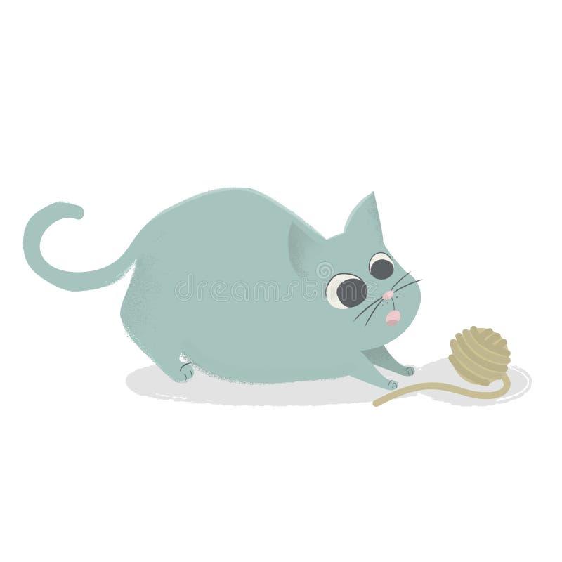Gato bonito que joga com a bola do fio Gatinho cômico dos desenhos animados isolado A ilustração pronta para crianças registra, p ilustração royalty free