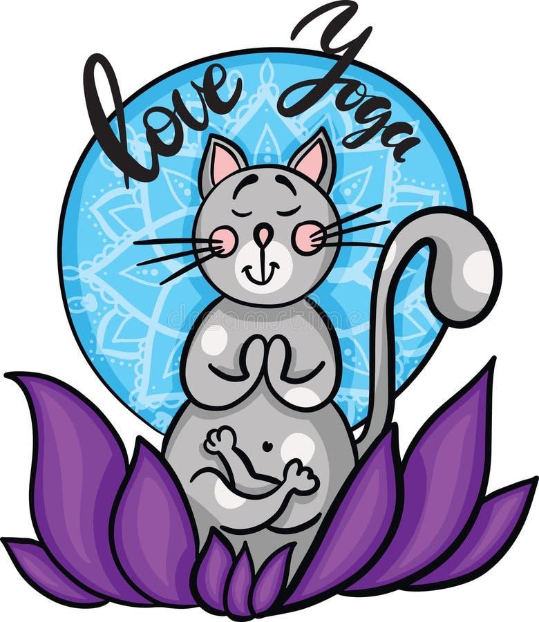 Gato bonito tirado mão dos desenhos animados na meditação que senta-se nos lótus Com rotulação da ioga do amor Vetor ilustração do vetor
