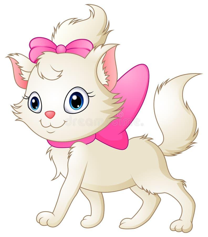 Gato branco bonito com curva cor-de-rosa ilustração stock