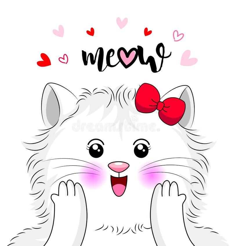 Gato branco dos desenhos animados bonitos que cai no amor ilustração stock