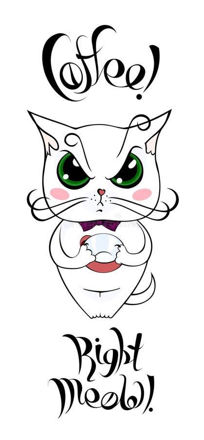 Gato branco dos desenhos animados com o copo vazio que exige o café ilustração do vetor