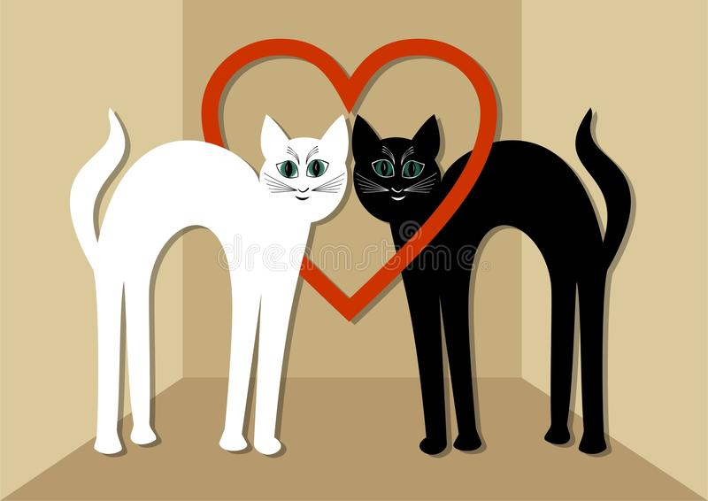 Gato branco e gato preto no amor, dois gatos bonitos com coração vermelho Cartão incomum do dia de Valentim ou anúncio do casamen ilustração stock
