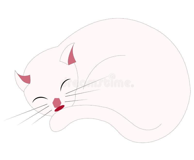 Gato branco que dorme em uma sala cor-de-rosa fotografia de stock royalty free