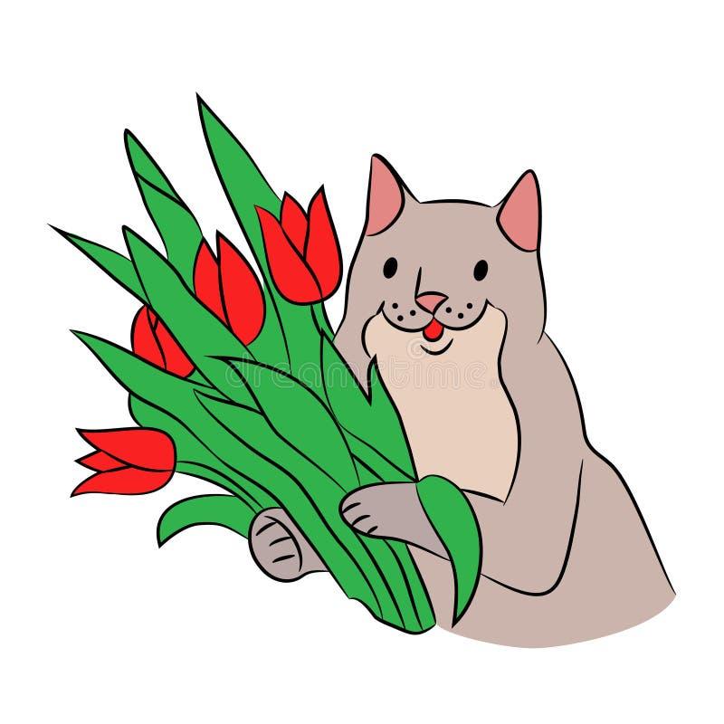 Gato bueno hermoso lindo con las flores ilustración del vector