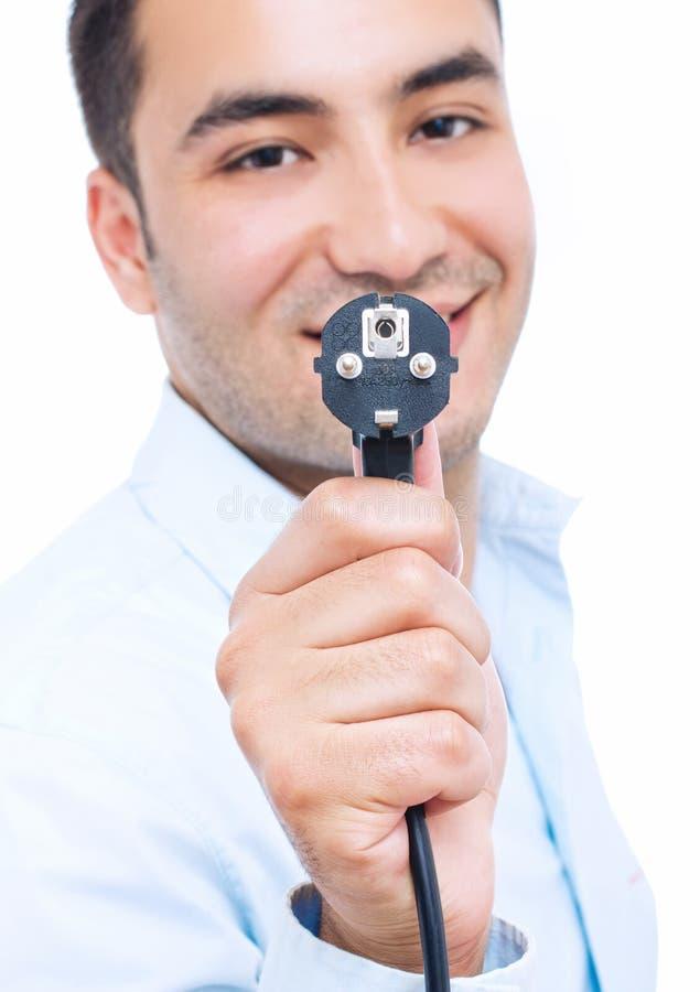 Gato-cable del electro de la explotación agrícola del hombre de negocios fotos de archivo libres de regalías