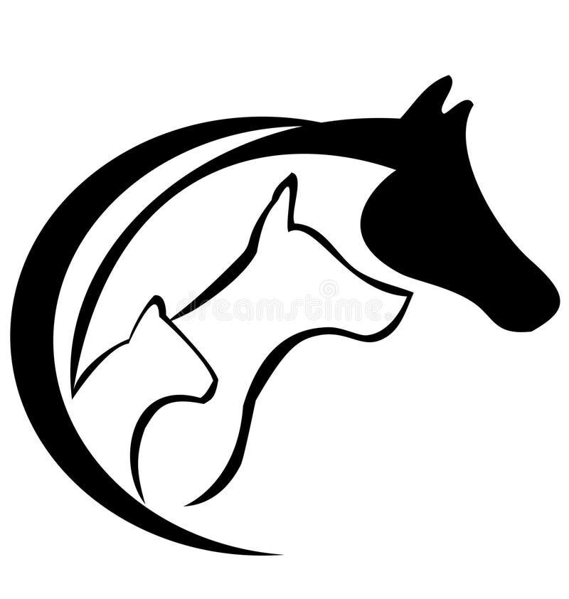 Gato, cavalo e cão ilustração stock