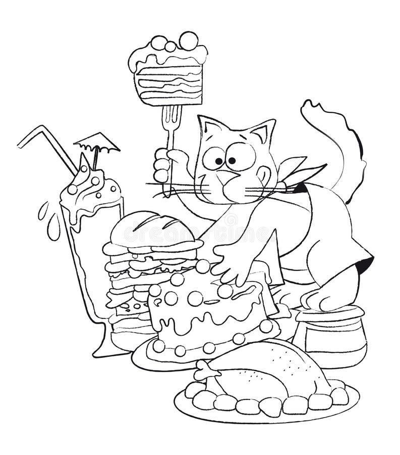 Gato codicioso ilustración del vector