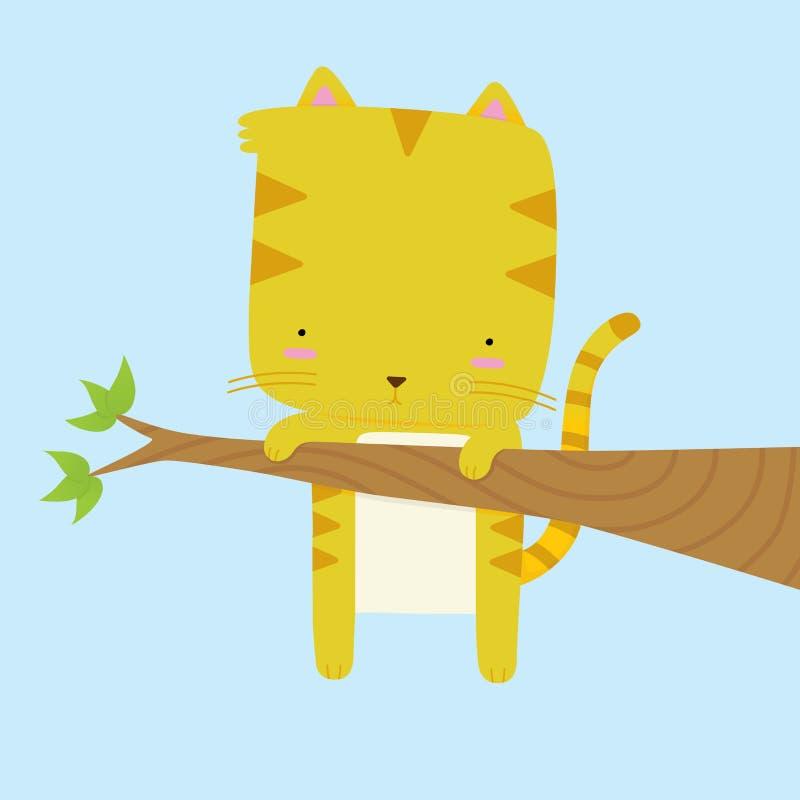 Gato colado em um ramo ilustração royalty free