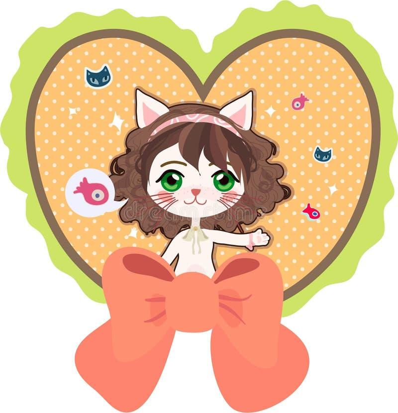 Gato com coração fotografia de stock