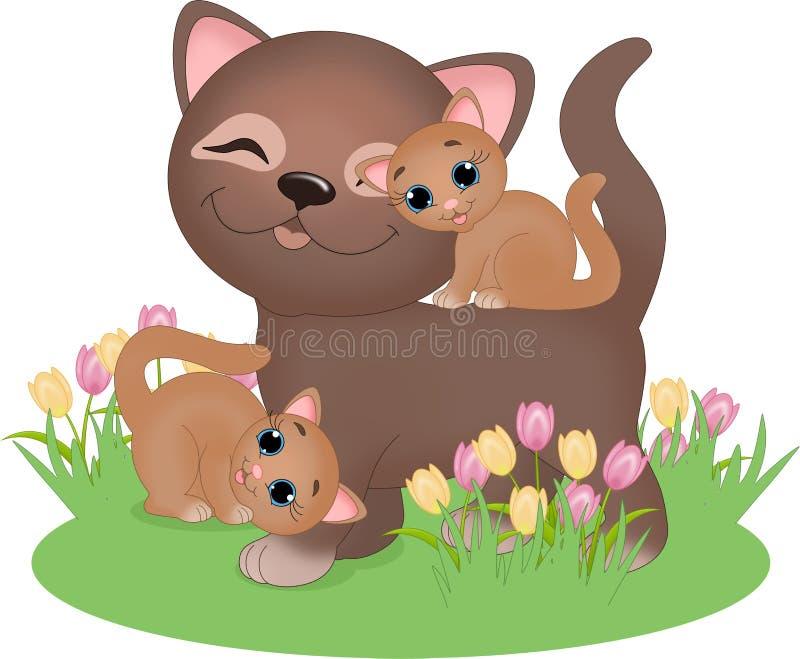 Gato com gatinhos ilustração royalty free