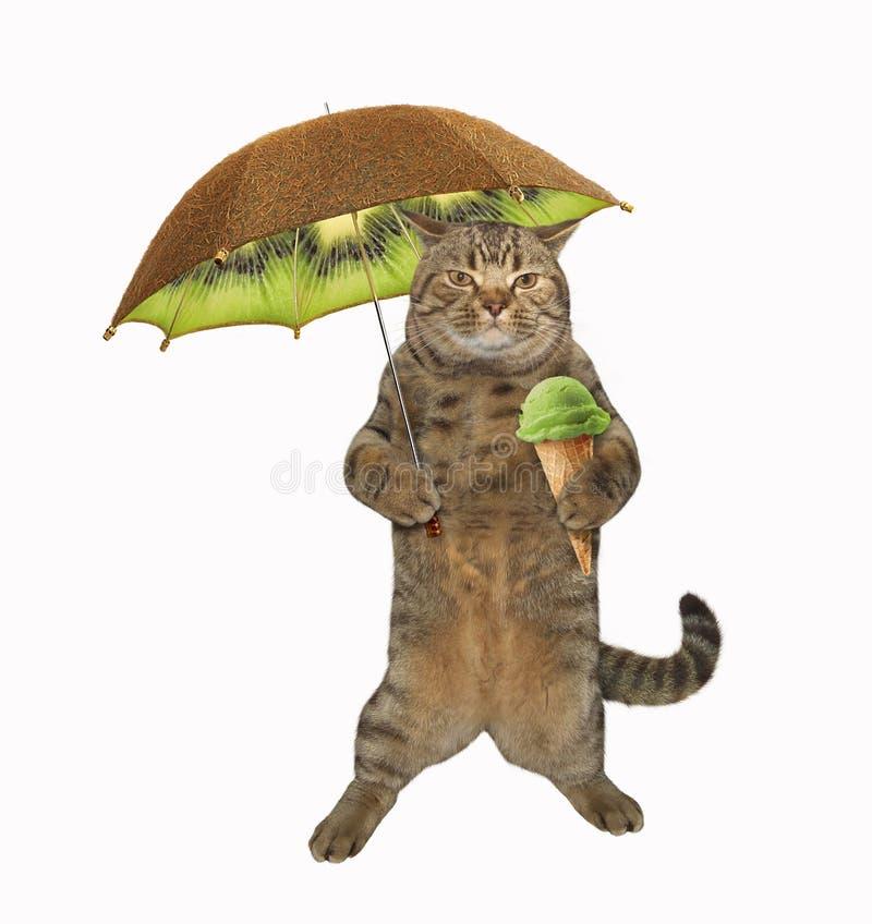 Gato com guarda-chuva 2 ilustração do vetor