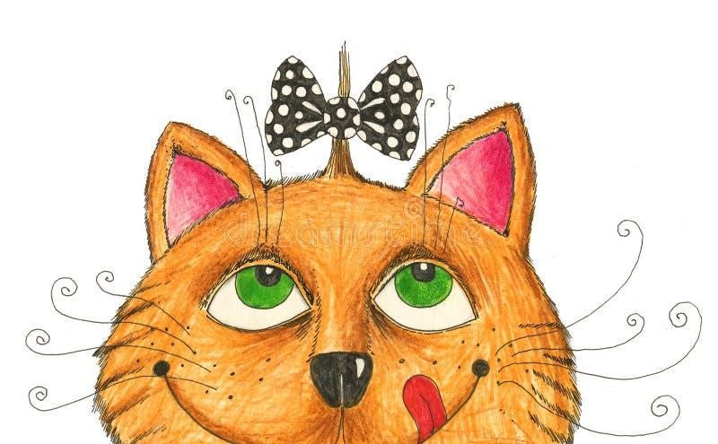 Gato com hairdo engraçado ilustração royalty free
