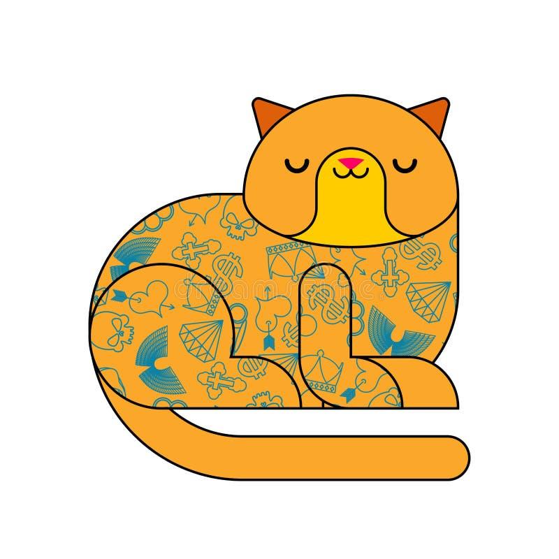 Gato com tatuagem Animal à moda elegante Animal de estimação do moderno Vetor ilustração do vetor