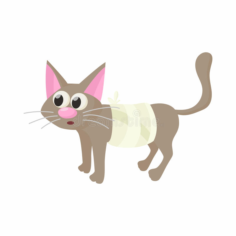 Gato com um ícone de ferimento, estilo dos desenhos animados ilustração royalty free