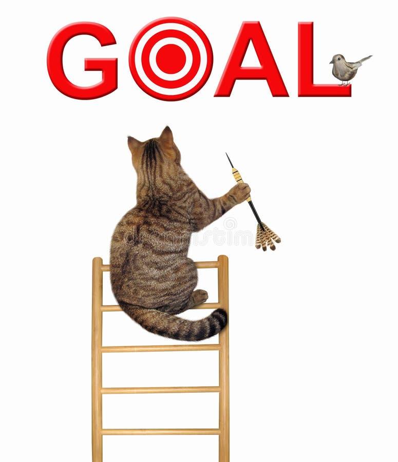 Gato com um dardo em uma escada 2 ilustração do vetor