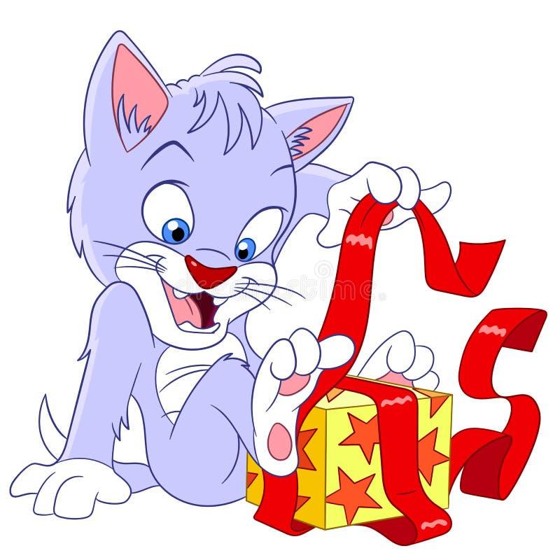 Gato com uma caixa ilustração royalty free