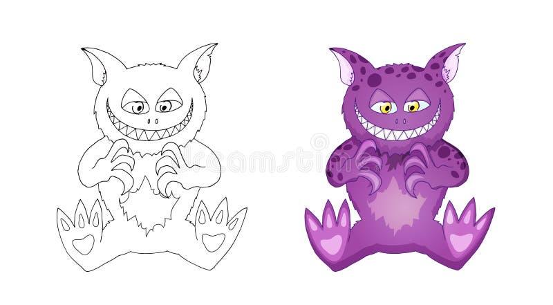 Gato como el personaje de dibujos animados del demonio para el niño aislado en el fondo blanco ilustración del vector