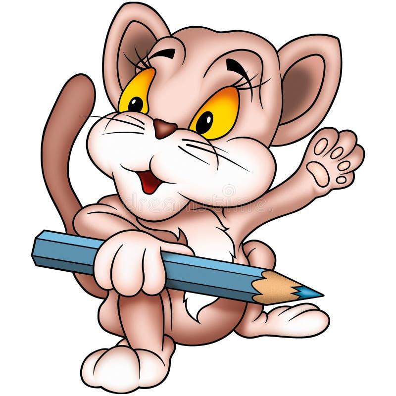 Gato como pintor stock de ilustración