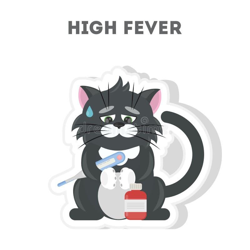 Gato con alta fiebre ilustración del vector