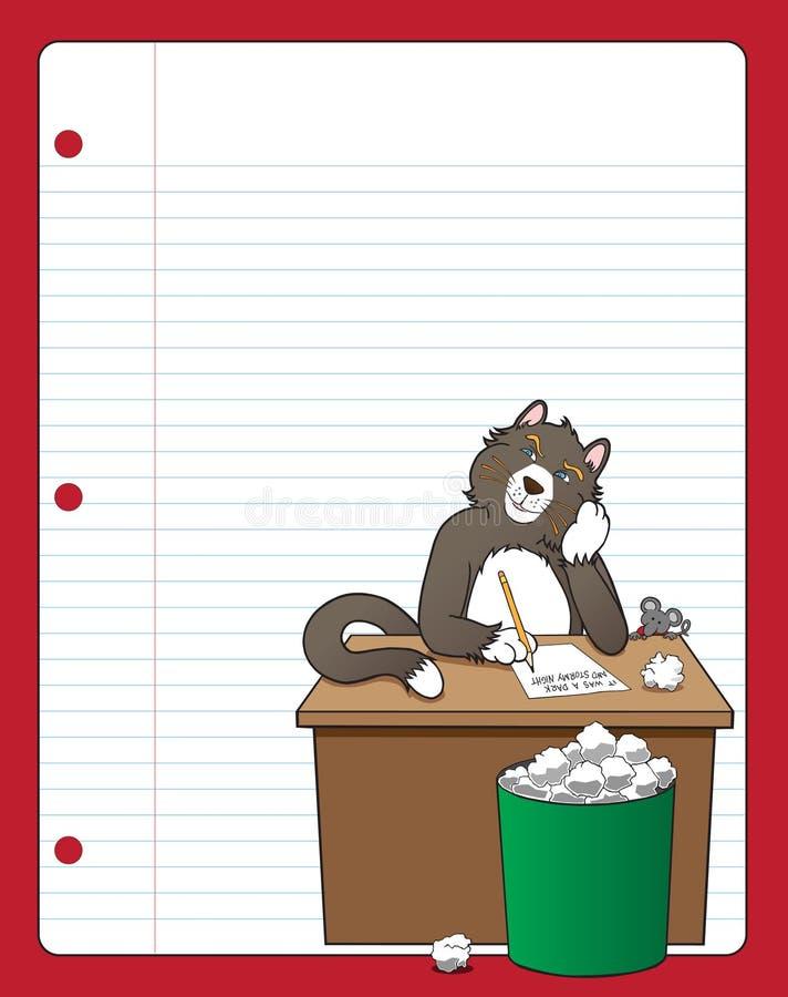 Gato con el bloque del programa de escritura libre illustration
