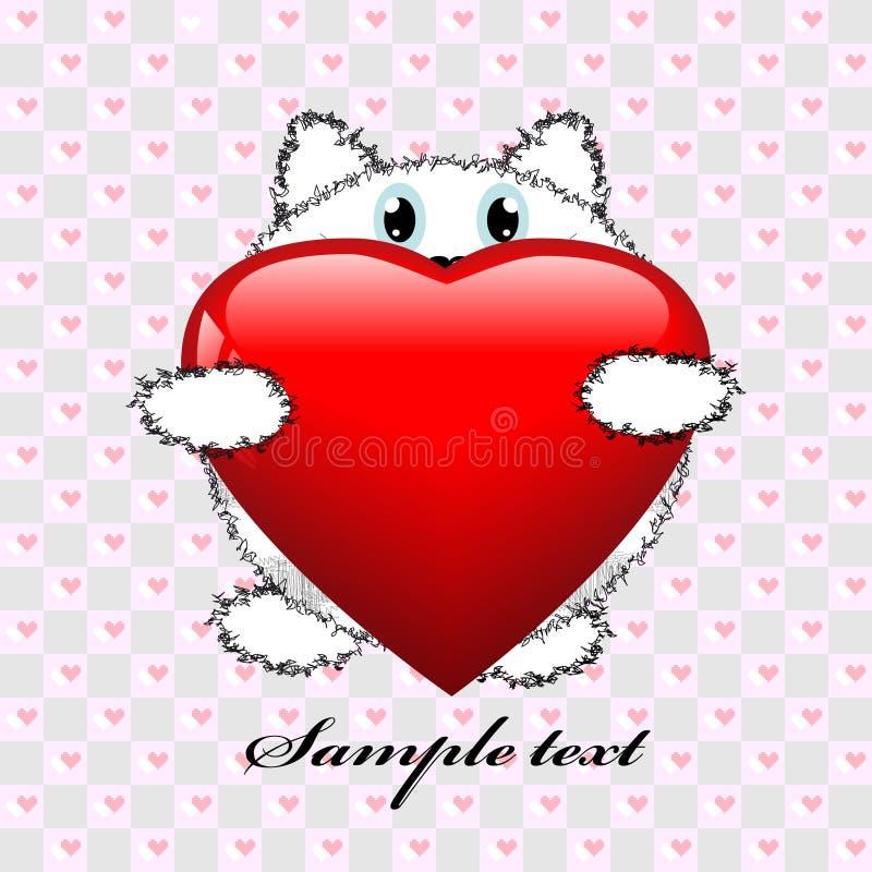 Gato con el corazón rojo grande en estilo de la papiroflexia ilustración del vector