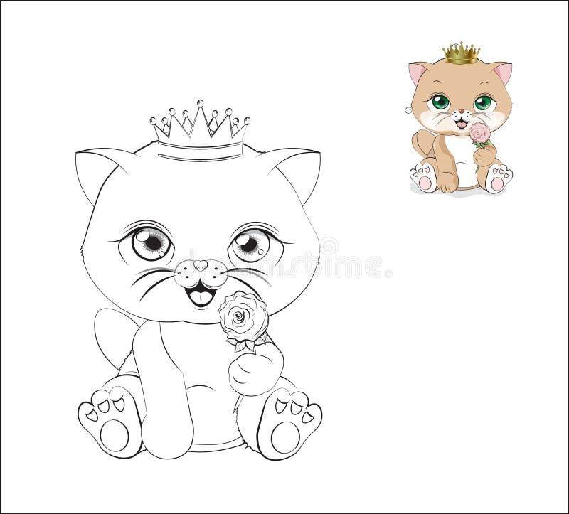 Gato con el libro de colorear de la flor ilustración del vector