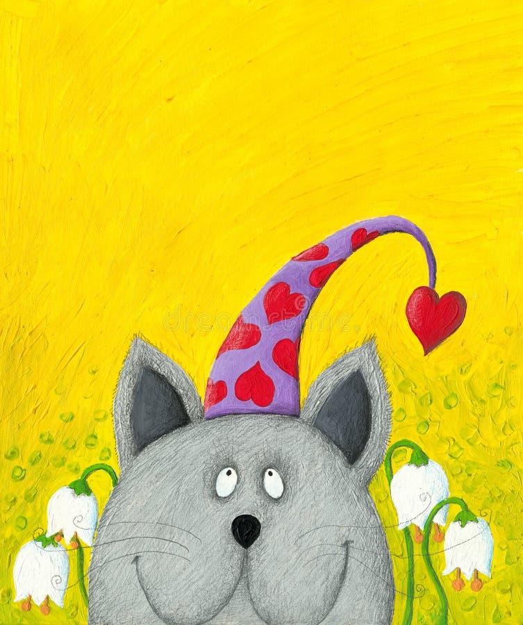 Gato con el sombrero divertido stock de ilustración