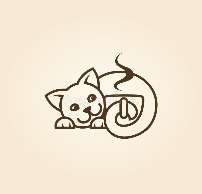 Gato con la taza de icono cortado del café ilustración del vector