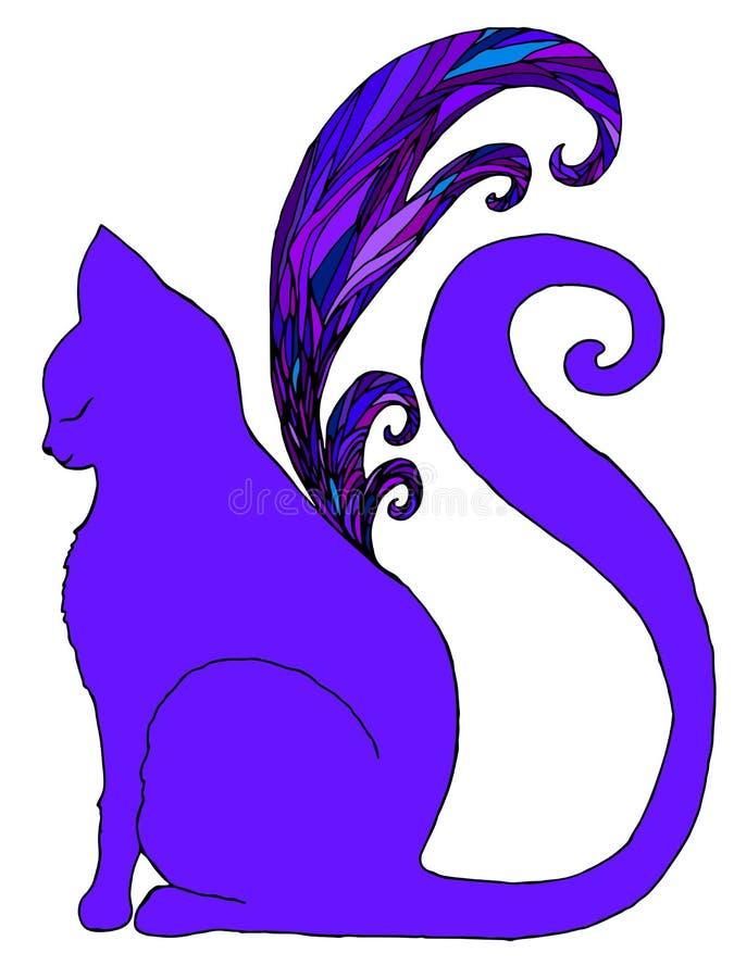 Gato con las alas de la mariposa, fondo blanco aislado ilustración del vector
