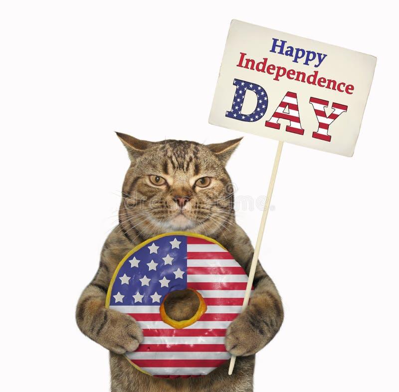 Gato con un buñuelo americano 2 imágenes de archivo libres de regalías