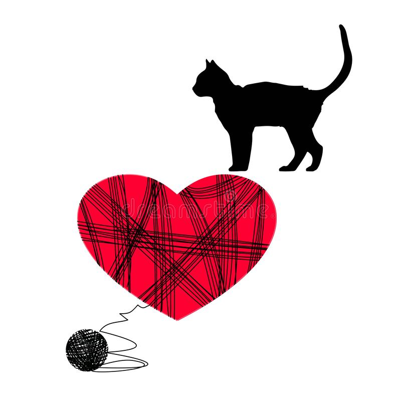 Gato con una bola en el fondo de corazones Amor para los gatos stock de ilustración