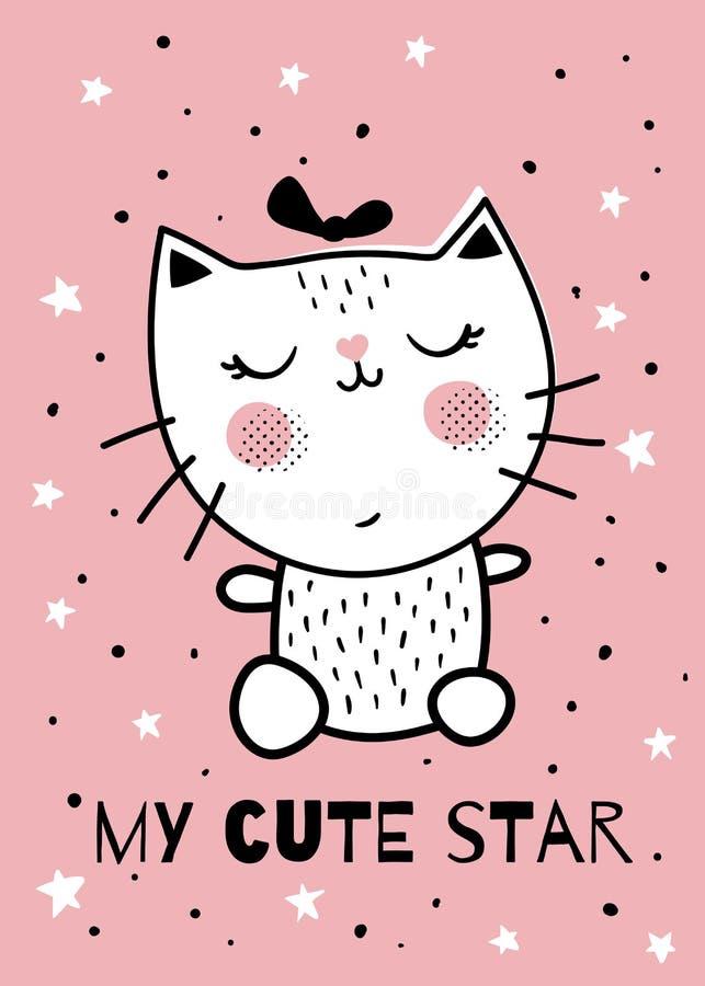Gato cor-de-rosa ilustração royalty free