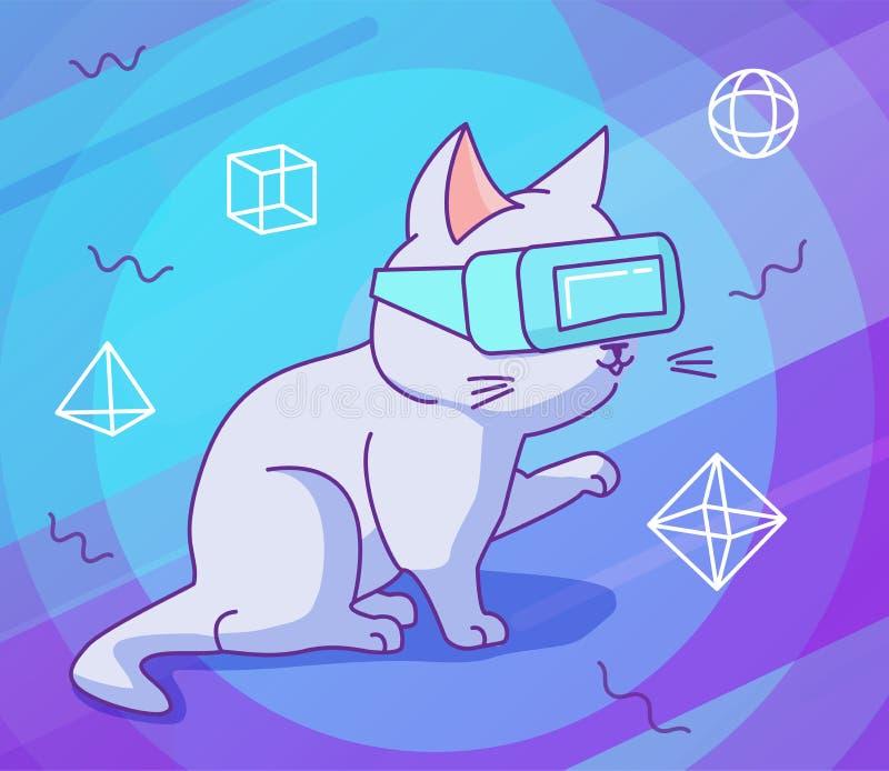Gato curioso com vidros do vr em um espaço da realidade virtual ilustração do vetor