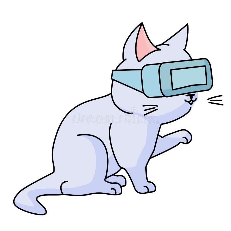 Gato curioso con los vidrios del vr libre illustration