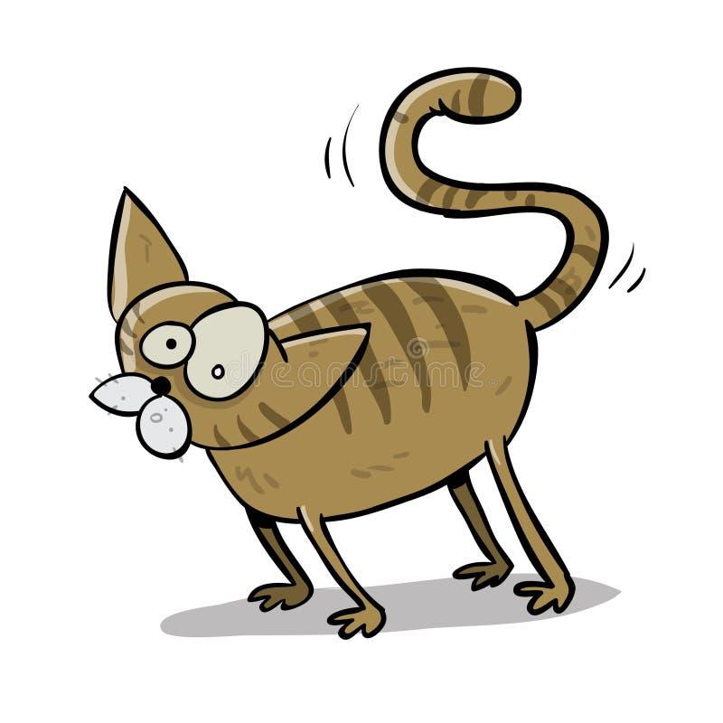 Gato curioso de Brown ilustração stock